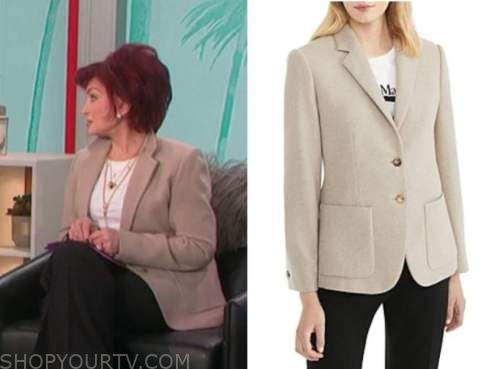 sharon osbourne, beige blazer, the talk