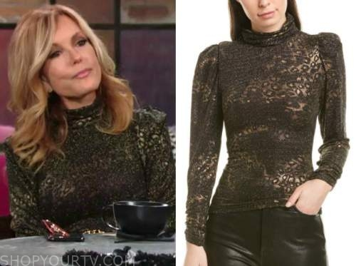 lauren fenmore baldwin, tracey bregman, the young and the restless, metallic mock neck blouse