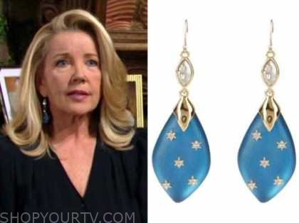 nikki newman, melody thomas scott, the young and the restless, blue drop earrings