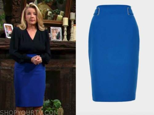 nikki newman, melody thomas scott, blue pencil skirt, the young and the restless