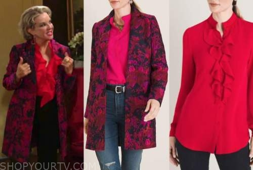 judith chapman, gloria abbott, the young and the restless, red jacquard coat, red ruffle blouse