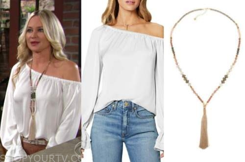 sharon newman, sharon case, the young and the restless, white off-the-shoulder blouse, beaded tassel necklace