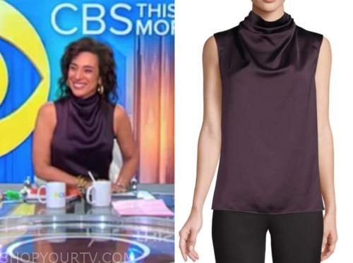 michelle miller, purple silk cowl top, cbs this morning