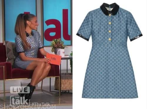 elaine welteroth, the talk, blue monogram dress