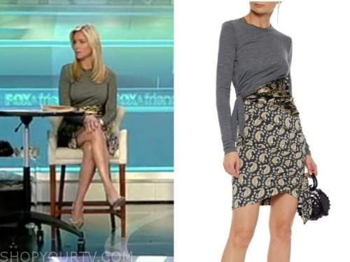 ainsley earhardt, grey and gold brocade wrap dress, fox and friends