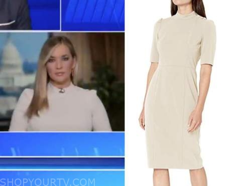 katie pavlich, the five, beige button shoulder dress