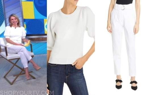 amy robach, good morning america, white short sleeve sweater, white belted pants