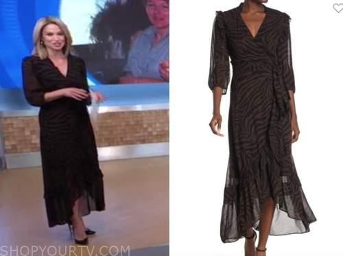 amy robach, good morning america, brown zebra midi dress