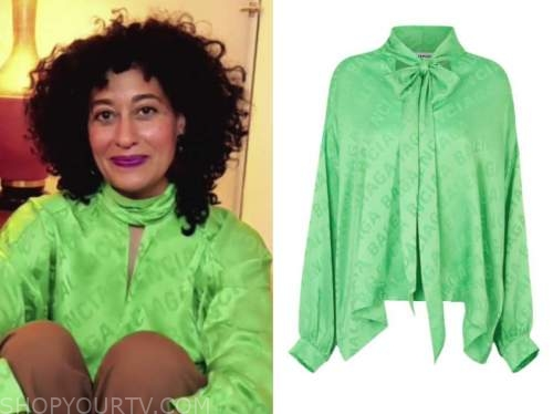 tracee ellis ross, green printed blouse, good morning america