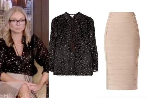 kelly ripa, live with kelly and ryan, black metallic tassel blouse, beige bandage skirt