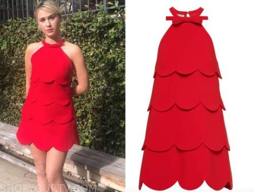 maria bakalova, the kelly clarkson show, red scallop halter dress