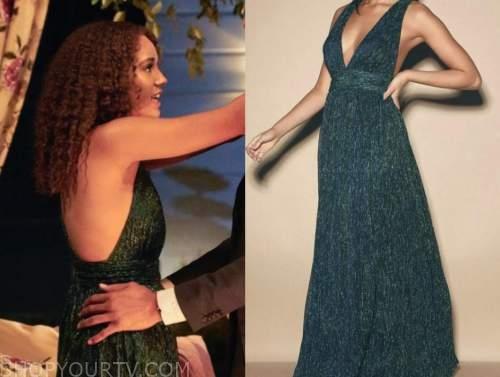 pieper james, the bachelor, green maxi dress