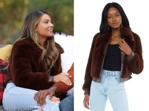 sarah trott, brown fur bomber jacket, the bachelor