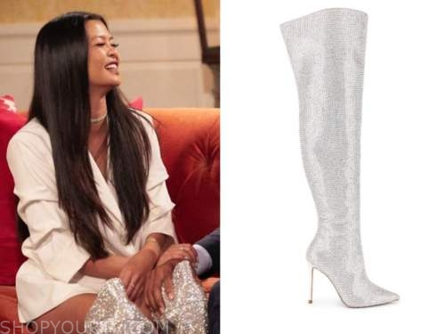 serena chew, the bachelor, silver embellished over the knee boots