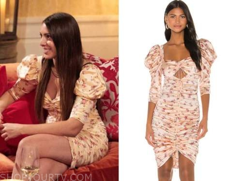victoria larson, floral puff sleeve ruched dress, the bachelor