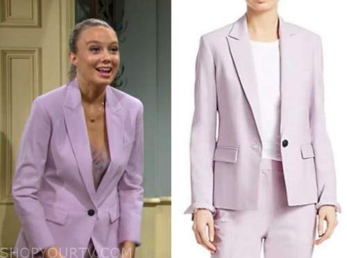 abby newman, melissa ordway, purple blazer, the young and the restless