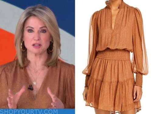 amy robach, gold orange metallic dress, good morning america, gma3