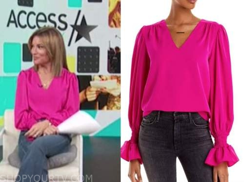 kit hoover, hot pink v-neck top, access daily