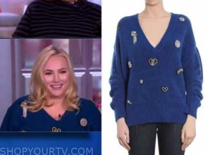 meghan mccain, the view, blue embellished sweater