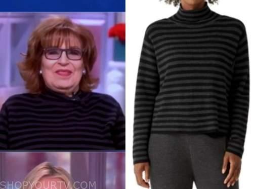 joy behar, the view, grey and black striped turtleneck sweater