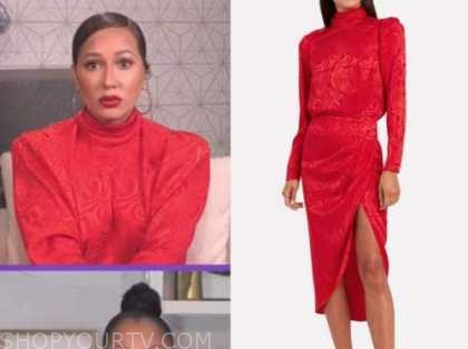 adrienne bailon, red silk mock neck midi dress, the real