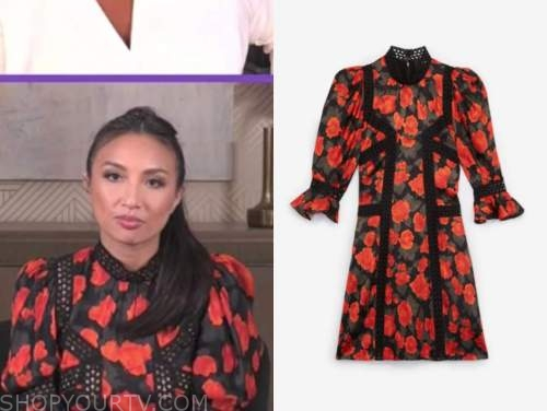 jeannie mai, the real, red and black floral dress