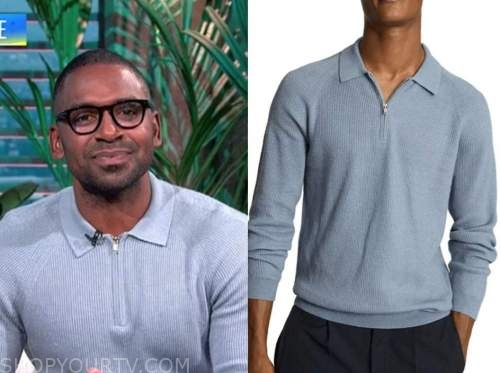 justin sylvester, E! news, daily pop, blue ribbed knit polo sweater