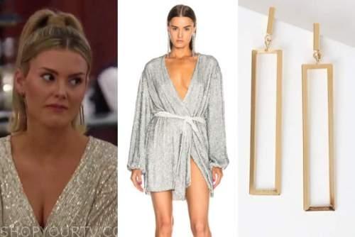 anna redman, silver sequin wrap dress, rectangle cutout earrings, the bachelor