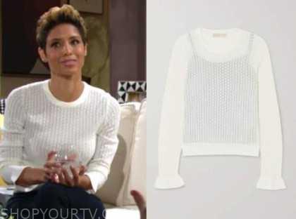 elena dawson, the young and the restless, brytni sarpy, white sweater