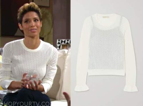 elena dawson, the young and the restless, brytni sarpy, white sweater