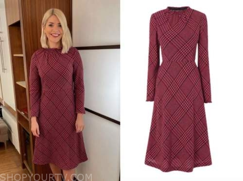 holly willoughby, this morning, pink check dress