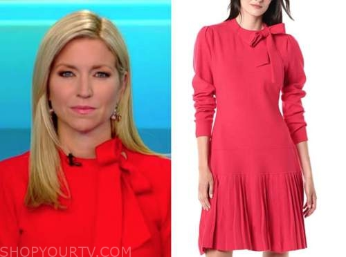 ainsley earhardt, fox and friends, red tie neck pleated dress