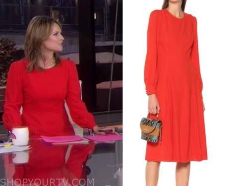 savannah guthrie, the today show, red long sleeve dress