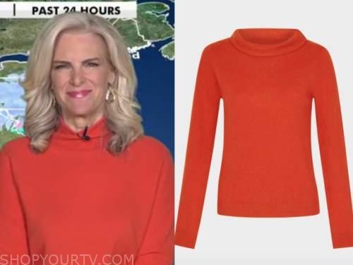 janice dean, red orange sweater, fox and friends