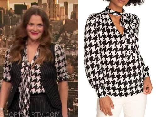 drew barrymore, drew barrymore show, black and white houndstooth tie neck blouse