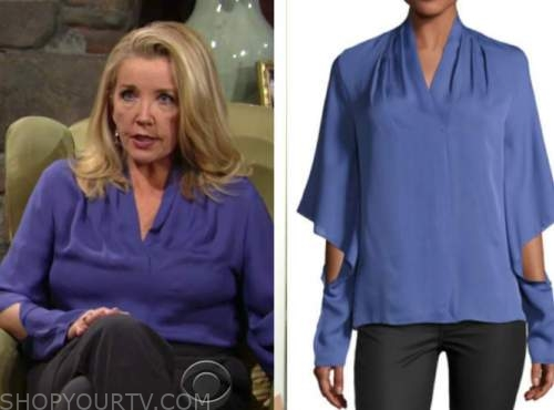 nikki newman, melody thomas scott, the young and the restless, purple blue silk blouse