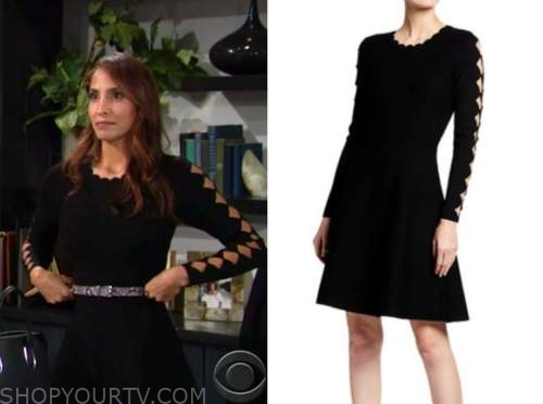 lily winters, christel khalil, the young and the restless, black knit cutout scallop dress