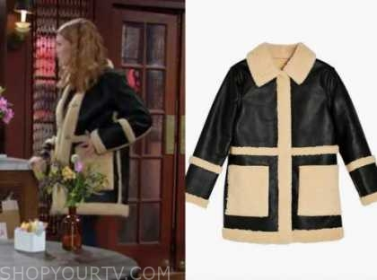 the young and the restless, jordan, madison thompson, black and beige shearling leather coat