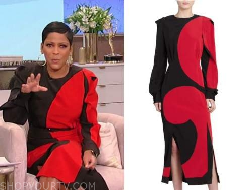 tamron hall, tamron hall show, red and black colorblock midi dress