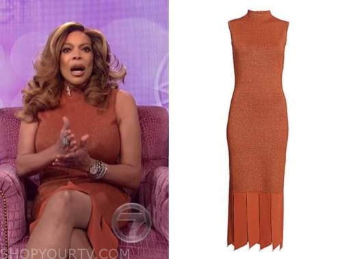 the wendy williams show, wendy williams, rust knit dress