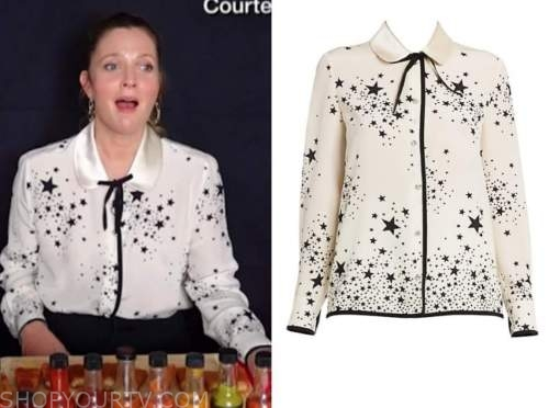 drew barrymore, drew barrymore show, black and white star blouse