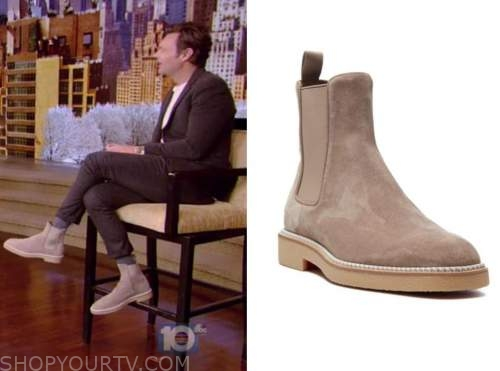 ryan seacrest, live with kelly and ryan, beige suede boots