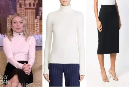 kelly ripa, live with kelly and ryan, white turtleneck, black pencil skirt