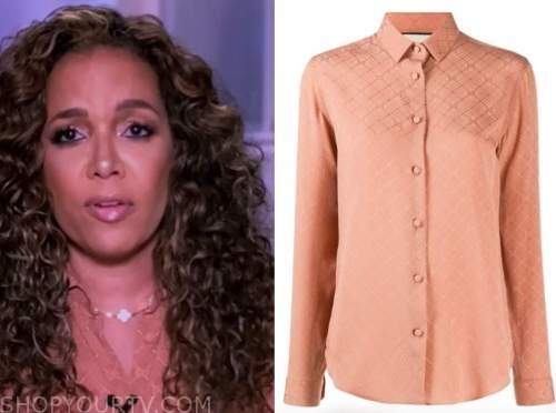 sunny hostin, coral pink logo shirt, the view