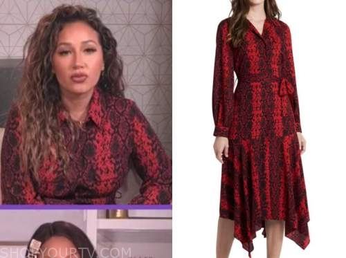 adrienne bailon, the real, red snakeskin shirt dress