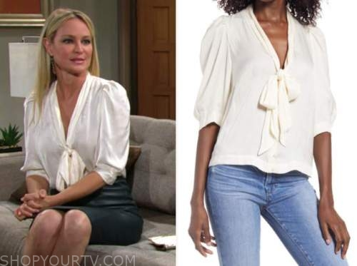 sharon newman, sharon case, the young and the restless, ivory tie neck blouse