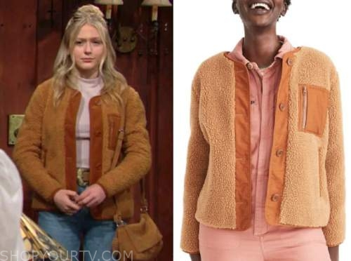 faith newman, alyvia alyn lind, the young and the restless, brown shearling jacket