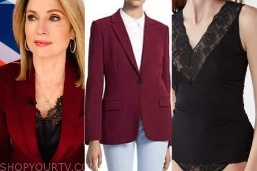 amy robach, good morning america, burgundy blazer, black lace top