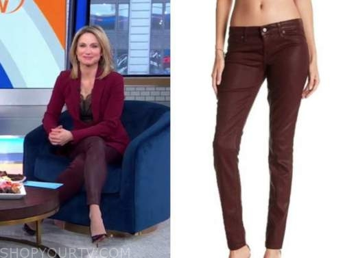 amy robach, good morning america, burgundy coated jeans