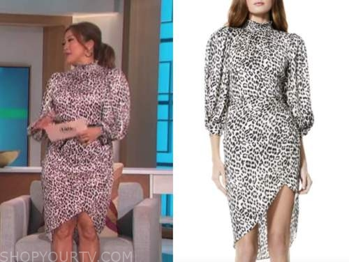 carrie ann inaba, the talk, leopard mock neck dress